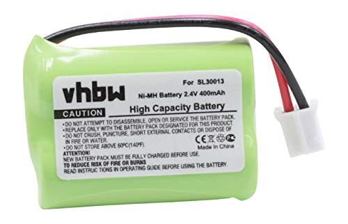vhbw Batterie NiMH 400mAh (2.4V) pour téléphone réseau sans Fil Audioline DECT 7500, 7500 Micro, 7501, 7800, 7800B, 7801 remplace SL30013