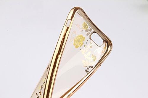 iPhone 6sPlus Custodia Sveglio, Soft TPU Gel Cover per iPhone 6Plus, MAOOY Shell Placcatura Edge in Lucido di Cristallo di Scintillio Strass Shock Absorption Protettiva Trasparente Ultra Sottile Chic  Fiore Oro Verde