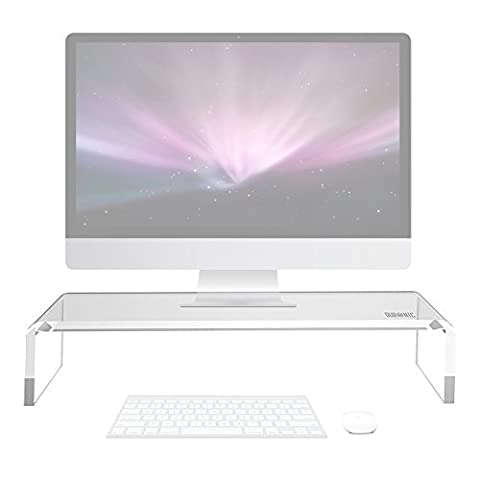 Duronic DM053 Clear Acrylic Stand Riser for PC Computer Monitor / Laptop and TV (50cm X 20cm / 30kg capacity) + 2 Year