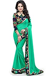 SAREES(Women's Clothing Sarees for Women latest Color Sarees collection in latest Georgette Sarees with designer Blouse Piece free size beautiful bollywood Sarees for Women party wear offer designer Sarees with Blouse piece Sarees New Collection)