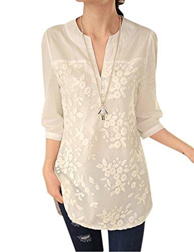 Cooshional Damen Bluse, Patchwork Gr. L, weiß