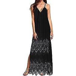 BBsmile Vestido Para Mujer Mujeres Casual Elegante Bohemio Algodón Vestido Suelto Largo Playa Cuello V sin Mangas (Negro, M)