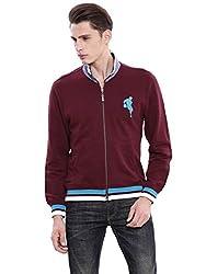 Arrow Sports Mens Cotton Sweatshirt (SS AS B FS REG BUR SOL A12ASBASS001M1_XL_Burgundy)