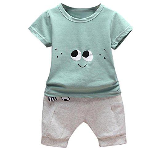 Babybekleidung,Resplend Kleinkind Kinder Baby Jungen Outfits Cartoon Augen T-Shirt Tops + Hosen Kleidung Sets Mode Lässig Kurzarm 2 Stücke Bekleidungssets (Grün, 6M)