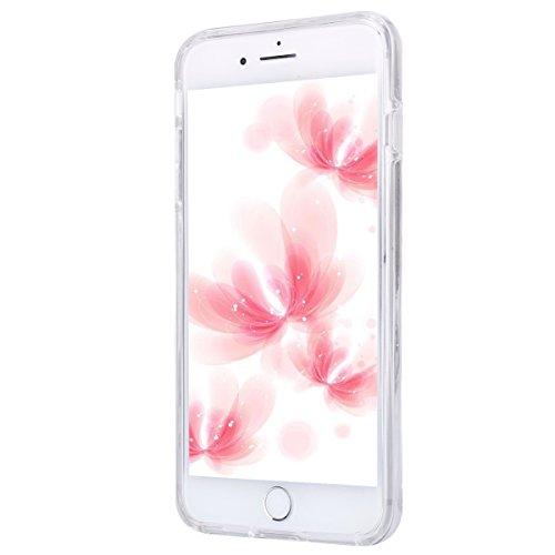 iPhone 7 Plus Hülle Case,iPhone 7 Plus Schutzhülle Bumper,Ekakashop Modisch Durchsichtig Ultra dünn Slim 2 in 1 Transparent Delphine Schwimmen Muster Weiche TPU + PC Silikon Crystal Klar Flexible Gel  Lippenstift