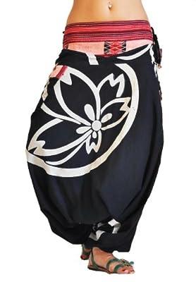 virblatt Haremshose mit traditionellen Webereien UNISEX Einheitsgröße S - L Aladinhose mit Lotusblumenmuster alternative Kleidung- Besonders