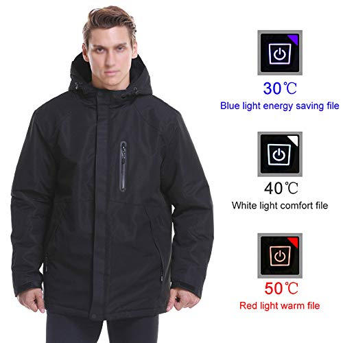 SONNIGPLUS Beheizte Jacke, USB-Laden Kleidung, Elektrische Beheizte Jacke, Warme Winterjacke aus Baumwolle, beheizte Weste Herren, für Wandern, Klettern, Camping,Black-L