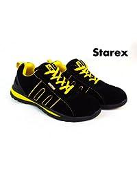 Zapatos de seguridad para trabajo, Yellow/Black Suede, 8