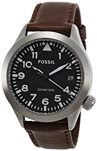 Fossil Herren-Armbanduhr XL The Aeroflite Analog Quarz Leder AM4512