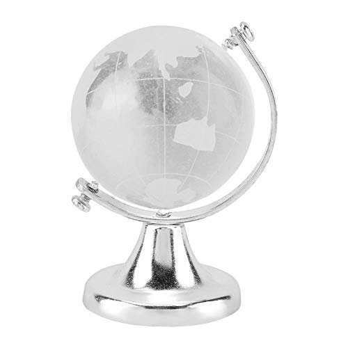 Wifehelper Kristallkugel Kristallkugel-Glaskugel-Anzeigen-Kugel Runde Erdkugel-Weltkarte-Kristallglaskugel-Kugel-Innenministerium-Dekor-Geschenk(Silber)