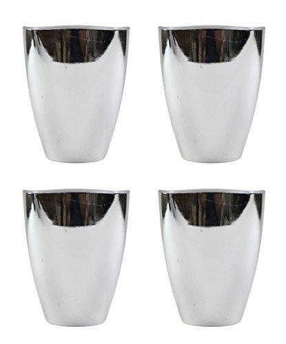 Decoline Kunststoff Blumentopf 4 Stück Silber