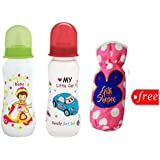 Gilli Shopee Bottle Cover Free With Mee Mee Premium Baby Feeding Bottle, 250ml Pack Of 2 (Red & Green)