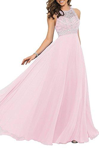 Izanoy Damen Ballkleid Öffnen Zurück Luxus Kristall Chiffon Lange Formale Kleider Rosa