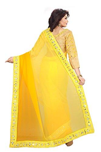 RV Creation Women's Georgette Saree (yellow1_yellow)