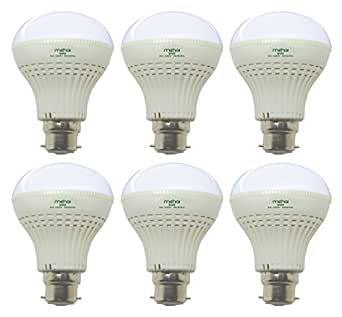 Mehai 9 W Plastic LED Bulb(Cool Day Light,Pack Of 6)
