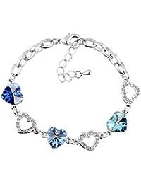 Le Premium® lien de coeur bracelet Cordate SWAROVSKI Sapphire, Light Sapphire, Cristaux Aquamarine