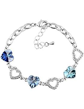 Le Premium® Herzen Link Armband Herzförmig SWAROVSKI Saphir, Light Sapphire, Aquamarine Kristalle