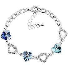 Le Premium® bracciale a maglie cuore Cordate SWAROVSKI Sapphire, Light Sapphire, Aquamarine Cristalli