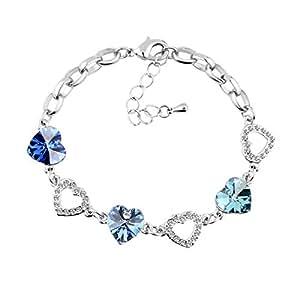 Le Premium® Kleeblatt Kristall Charme Armbänder herzförmigen Swarovski kristalle-Aquamarinblau + himmelblau + saphirblau