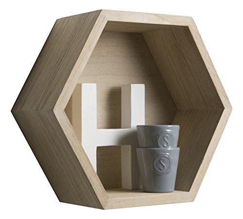 Duraline mensola esagono, legno, paulownia, 27 x 27 x 12 cm x grosor 15 mm, 5 unità
