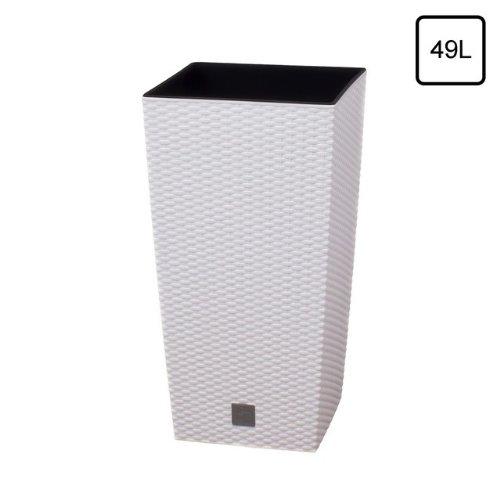 Terra Vase Rato aus Kunststoff mit Einsatz, Weiß, 60 cm