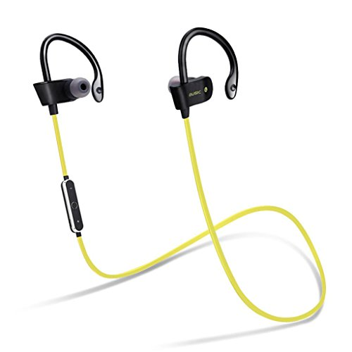 kingko® Drahtlose Bluetooth 4.1 Headset Sport Stereo In Ear Ohrhörer Ohrbügel -Headset mit Mikrofon, Line-Controller (Grün) -