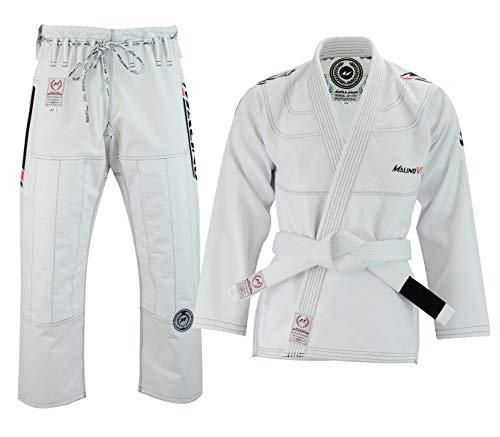 Malino BJJ Kimono brasilianischer Jiu Jitsu Gi Herren Kampfsport Anzug Uniform, Perlen-Webart-Baumwolle 550 GSM, Kurze Hose 10 Unzen Ripstop (A2, Weiß)