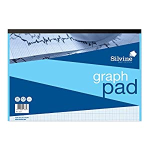 Silvine A3 Graph Pad. 50 Sheets of Quality 90gsm Paper, Printed 1-5-10mm Graph. Ref A3GP