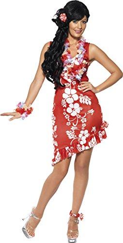 Smiffys, Damen Hawaiianische Schönheit Kostüm, Kleid, Haarschmuck und Fußspange, Größe: M, (Kostüme Hawaiianische Halloween)
