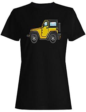 Novedad del coche del jeep de la historieta divertida camiseta de las mujeres a693f