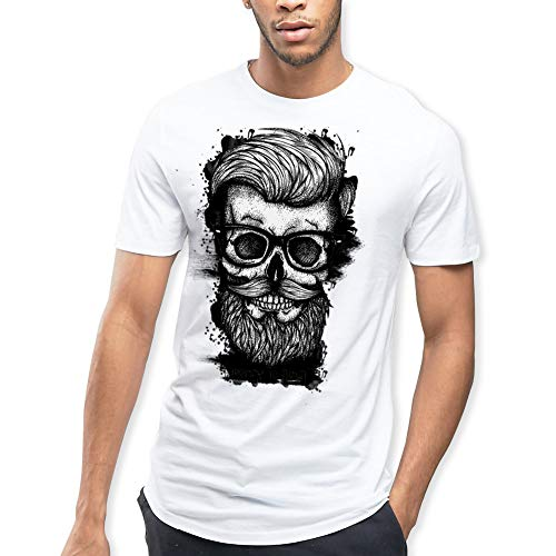 VIENTO Hipster Herren T-Shirt (WeiB, Large)