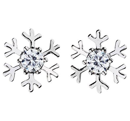 MYA art Ohrringe Ohrstecker Schneeflocke mit Swarovski Elements Strass Kristall Stein Vergoldet Silber Weiß für Damen Kinder ()