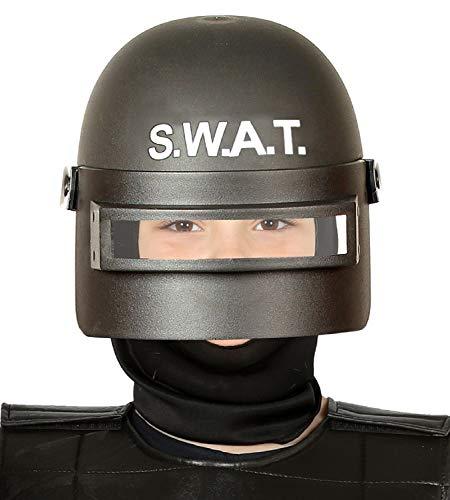 Fancy Me Kinder Jungen Mädchen SWAT Helm Hut mit Visier Riot Gear Uniform Kostüm Outfit Zubehör