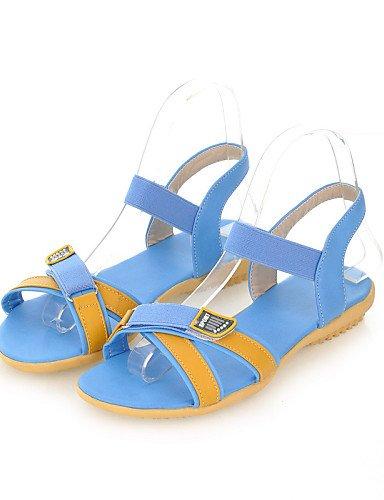 LFNLYX Chaussures Femme-Mariage / Extérieure / Bureau & Travail / Habillé-Bleu / Jaune / Beige-Talon Plat-Confort / Bout Arrondi-Sandales- Yellow