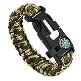 Chiconon Herren Camouflage Militärgrünes Armband 23*2.5cm/30g (EINSTELLBAR) aus Plastik und Harz sowie Rothco mit Feuerstein Notsignal für Biwakieren und Überleben Jungen Armkette Handkette
