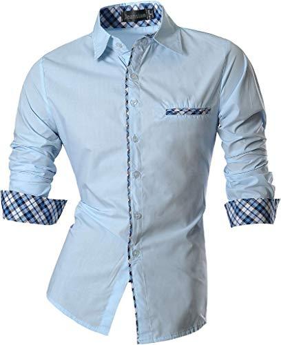 Jeansian uomo camicie un colore solido senza fiori moda abito camicia affari slim casual shirts z020 lightblue s
