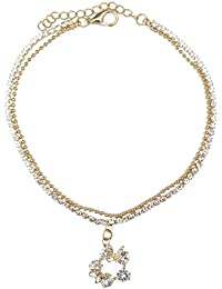 Kiyara Accessories Fashion Jewellery Western Butterfly American Diamond Anklet In Gold Plating For Women And Girls.