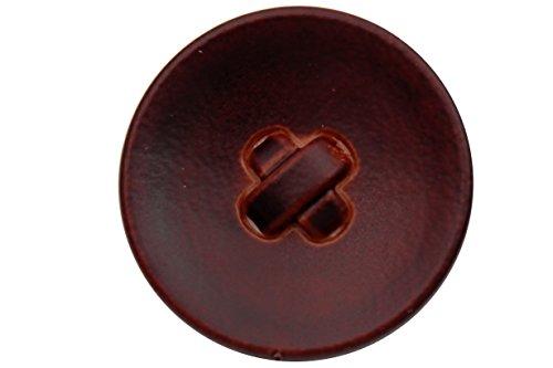 Hartmann-Knöpfe 6 Stück, edle, rot-braune Leder-Imitat-Knöpfe, Kunststoff-Ösenknöpfe, erhältlich in 3 verschiedenen Größen (6 Stück) (23mm) (Leder Hartmann)