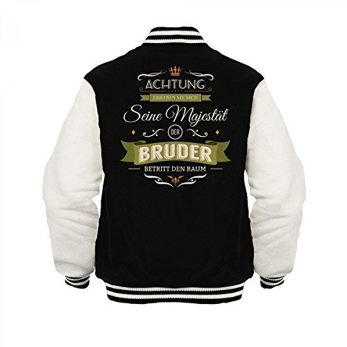 Fashionalarm Herren College Jacke - Seine Majestät der Bruder | Varsity Baseball Jacket | Sweatjacke Spruch Geburtstag Geschenk Idee Geschwister Schwarz / Weiß