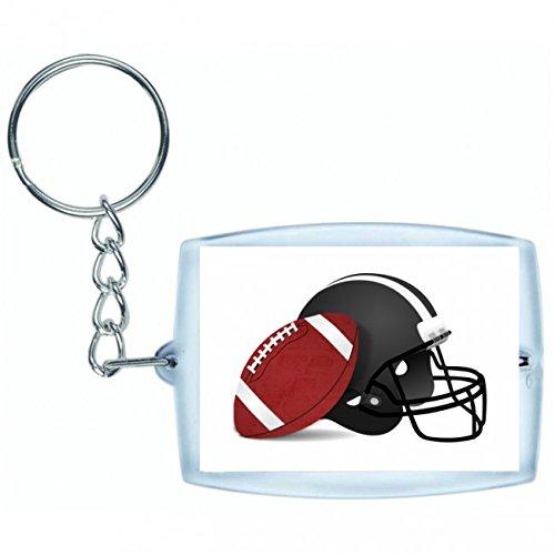 Druckerlebnis24 Schlüsselanhänger FUßBALL- Helm- Sport- Football- America- USA- American Sports in Weiss | Keyring - Taschenanhänger - Rucksackanhänger - Schlüsselring