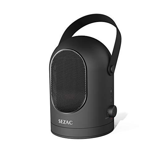 SEZAC [2018 más Nuevo] Calentador de Espacio Personal, Calentador de Ventilador oscilante, Calentador de cerámica portátil de 600 vatios para el hogar, Oficina, Escritorio, Dormitorio (Negro)