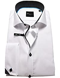 Venti Edition Slim Fit Langarmhemd Haikragen UMA Jaquardmuster weiß schwarz