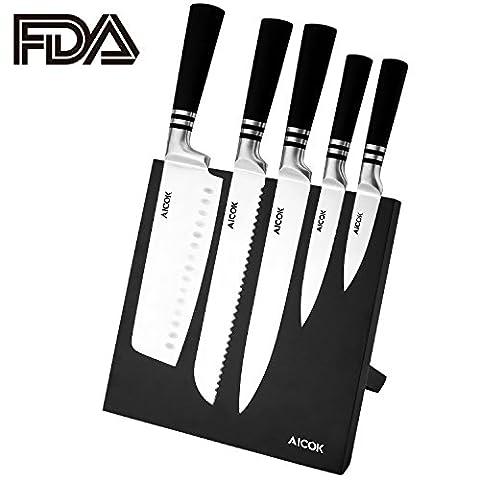Aicok Ensemble de Couteaux de Cuisine en Acier Inoxydable Allemand avec Support Magnétique pour Couteaux, 6 Pièces