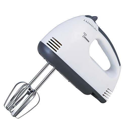LDG Ware Electric Hand Mixer with Chrome Beater and Dough Hook Stainless Steel ATTACHMENTS 7 Speed Setting 180 watt Beater for Cake Egg Bakery and Hand Blenders and Mixer for Kitchen Electric