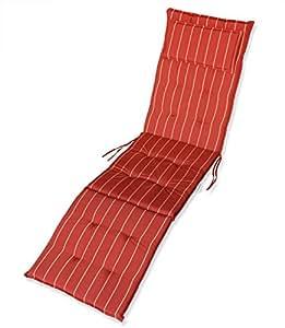 kmh auflage f r relaxliege deckchair terracotta mit gelben streifen 105032. Black Bedroom Furniture Sets. Home Design Ideas