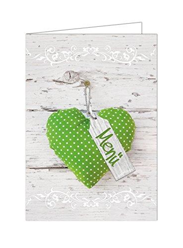 10 Stück Menükarten hellgrün grün apfelgrün weiß gepunktete HERZ Holz-Optik beschreibbar bedruckbar Speisekarten DIN A4 geklappt A5 Tischdeko Hochzeit Kommunion Taufe Geburtstag