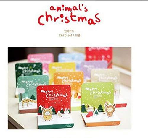 Greeting Card 1 Set Mini faltbare Weihnachtskarten (10 Karten & 10 Umschläge) Komener (Farbe : 1#)