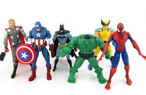 Image of 6 pcs Avengers super hero Action Figures Hulk spiderman thor Batman Wolverine