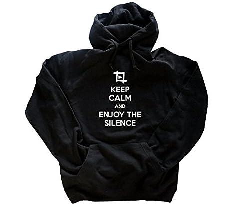 Motiv 09 Keep Calm and enjoy the silence Kapuzensweatshirt Hoody Schwarz XXXL