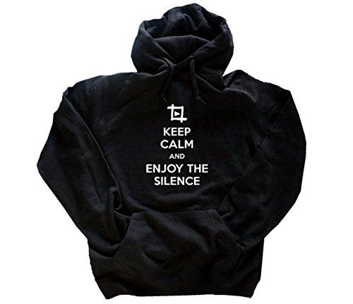 Shirtzshop Motiv 09 Keep Calm and enjoy the silence Kapuzensweatshirt Hoody Schwarz XL - 09 Hoody